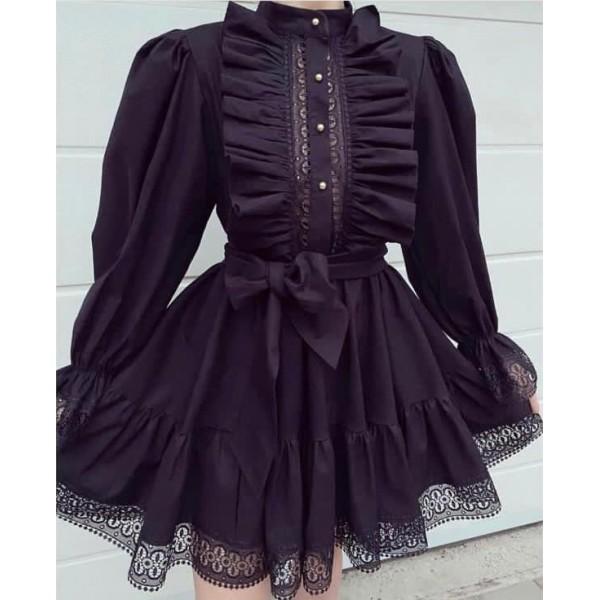 Czarna koszulowa sukienka damska z wstawkami koronkowymi