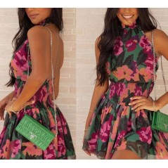 Letnia kwiatowa sukienka damska z odkrytymi plecami