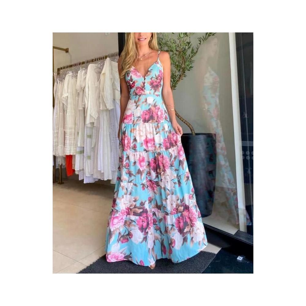 Maxi sukienka kwiatowa damska idealna na lato, wesele czy przyjęcie