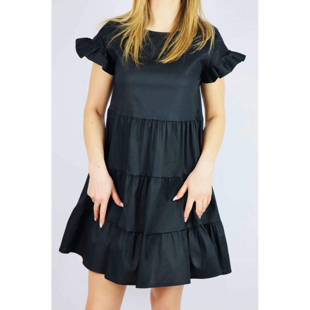 Czarna sukienka damska oversize z bufiastym rękawem