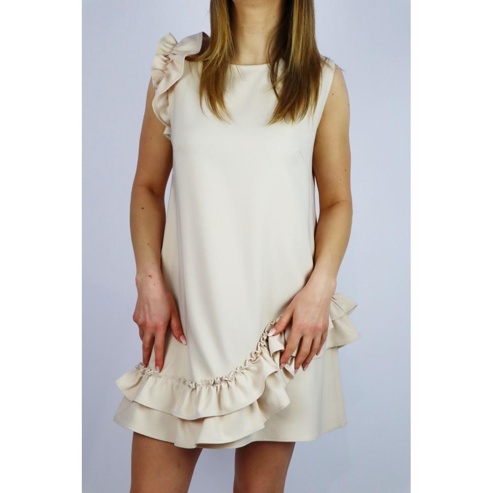 Elegancka sukienka kremowa damska z falbankami