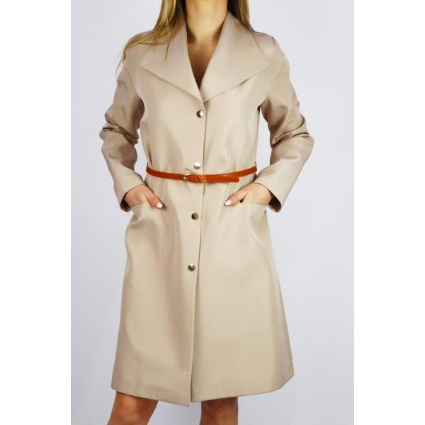 Płaszcz damski trencz wiosenny z dopasowanym paskiem