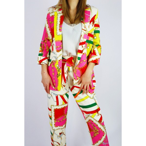 Kolorowy garnitur damski GOLD marynarka i spodnie
