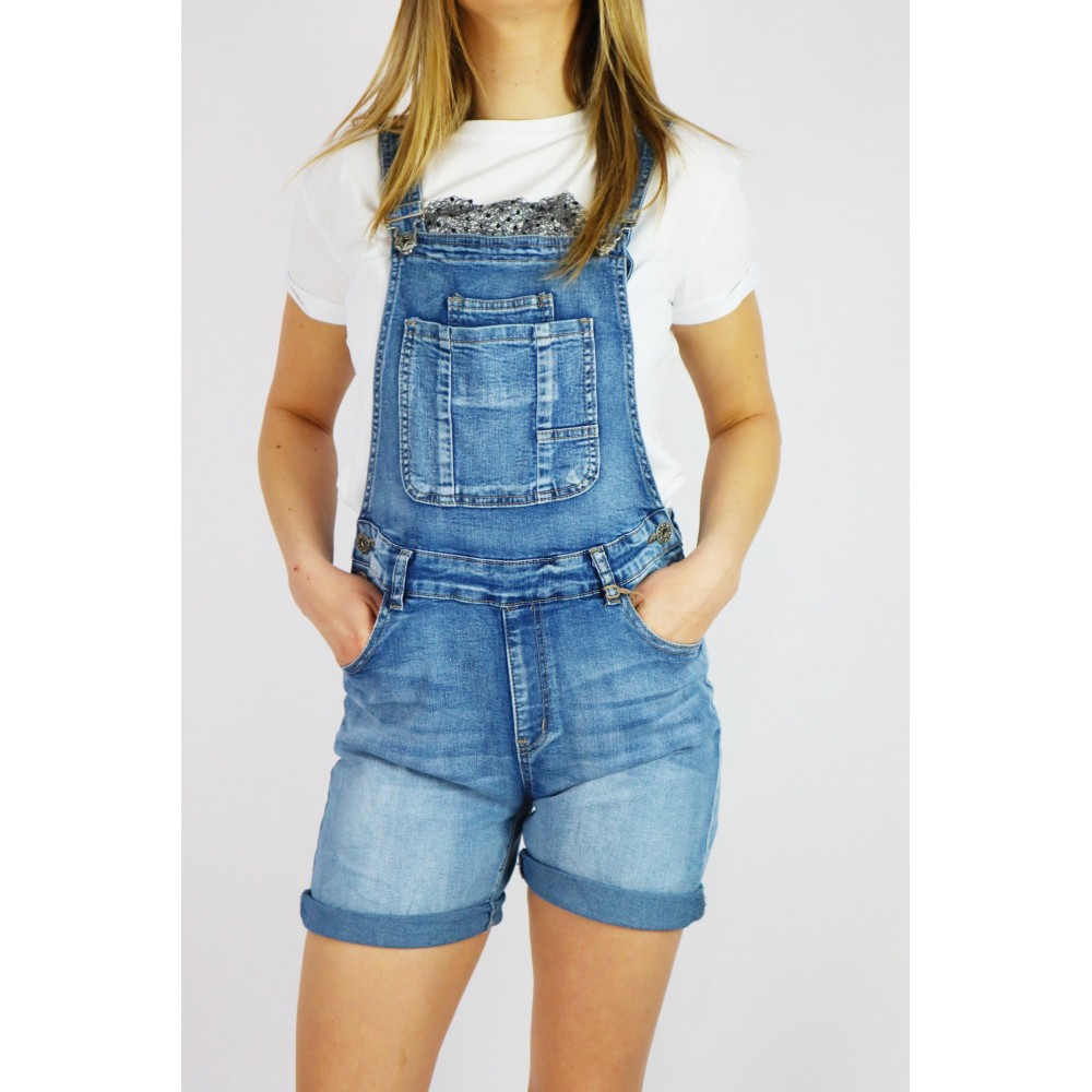 Jeansowe ogrodniczki damskie z krótkimi spodenkami