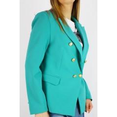 Zielona marynarka damska ze złotymi guzikami