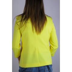 Żółta marynarka damska cytrynowa z guzikiem