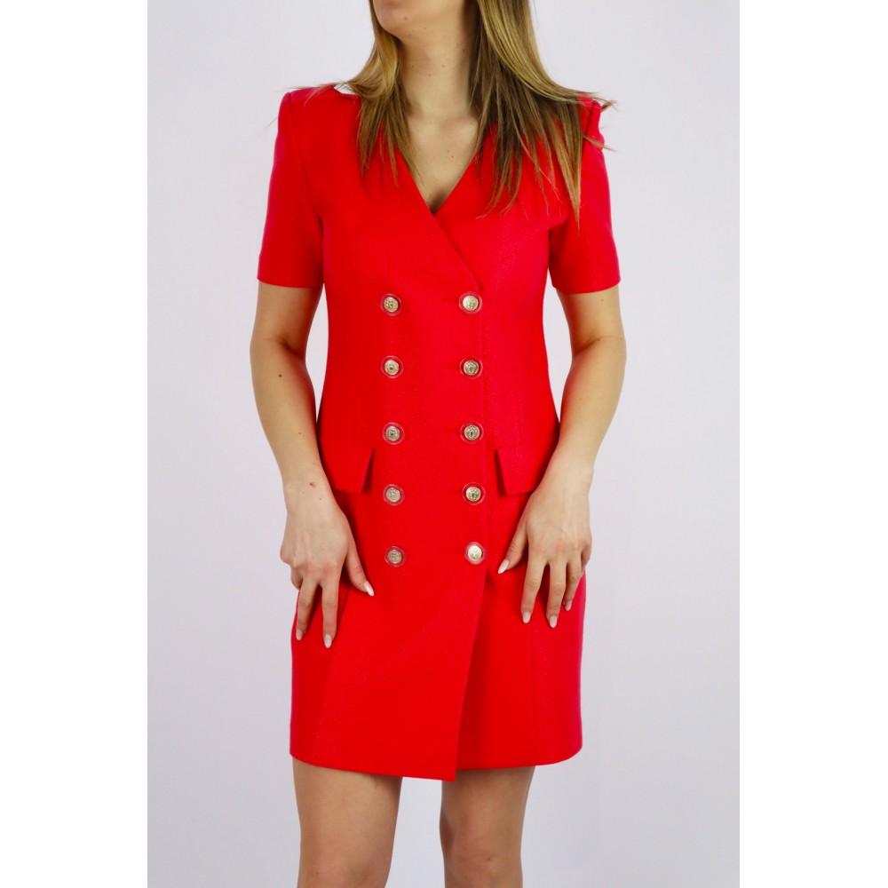 Żakietowa sukienka damska z krótkim rękawem i guziczkami