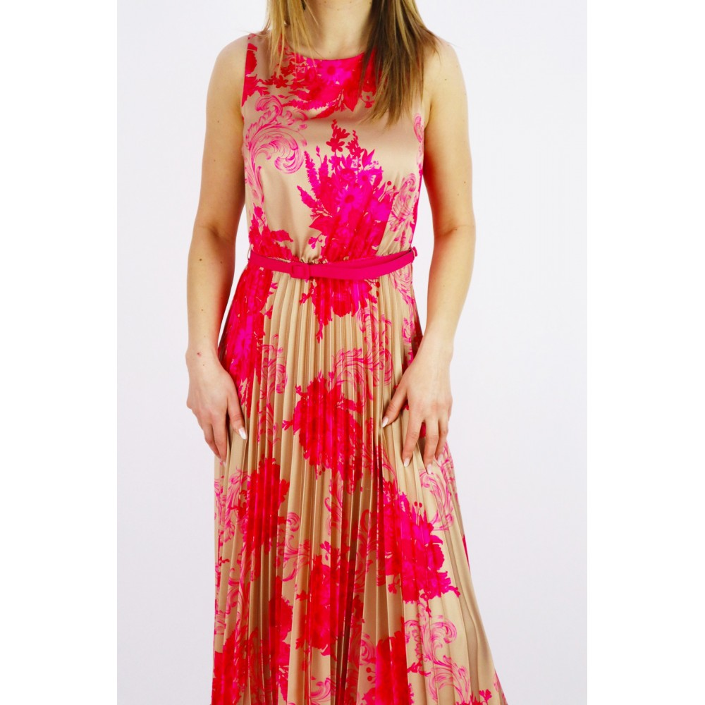 Sukienka damska Midi złoto- różowa z paskiem