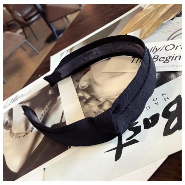 Opaska turban z materiału zdobiona brokatowa czarna O345