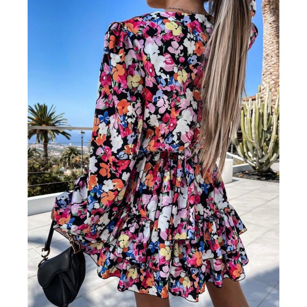 Kwiatowa sukienka damska kopertowa z falbankami