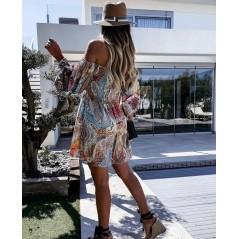 Hiszpanka sukienka damska BOHO w kolorowe printy