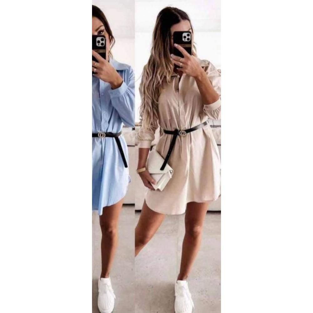 Koszulowa sukienka damska z paskiem mini- biała, nude lub błękitna