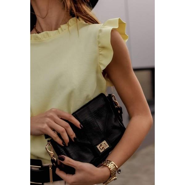 Elegancka bluzka damska z falbankowym rękawem w kolorze cytrynowym