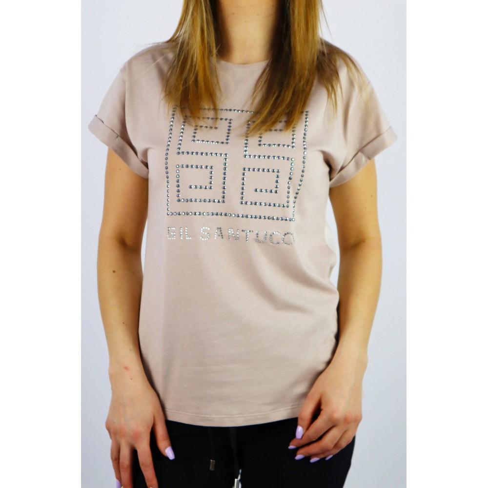 T-shirt damski GIL SANTUCCI w kolorze cappucino z satynowym tyłem