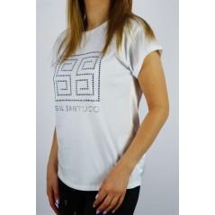 T-shirt damski GIL SANTUCCI w kolorze białym z satynowym tyłem