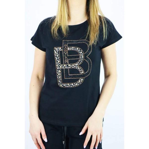 T-shirt damski BABYLON w kolorze czarnym z dżetowymi literami