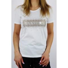 T-shirt damski Babylon biały ze złotymi dżetami