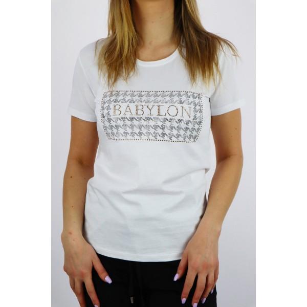 T-shirt damski BABYLON biały z ozdobnymi dżetami