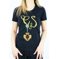 T-shirt damski Gil Santucci czarny z bajeczną grafiką