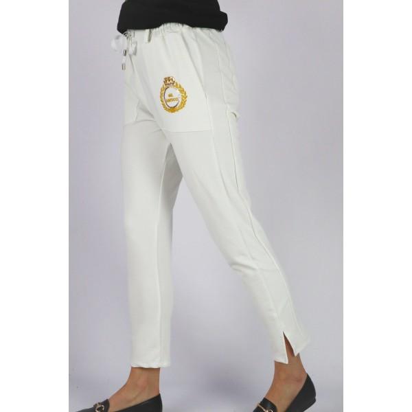 Spodnie dresowe GIL SANTUCCI damskie ecru z haftem