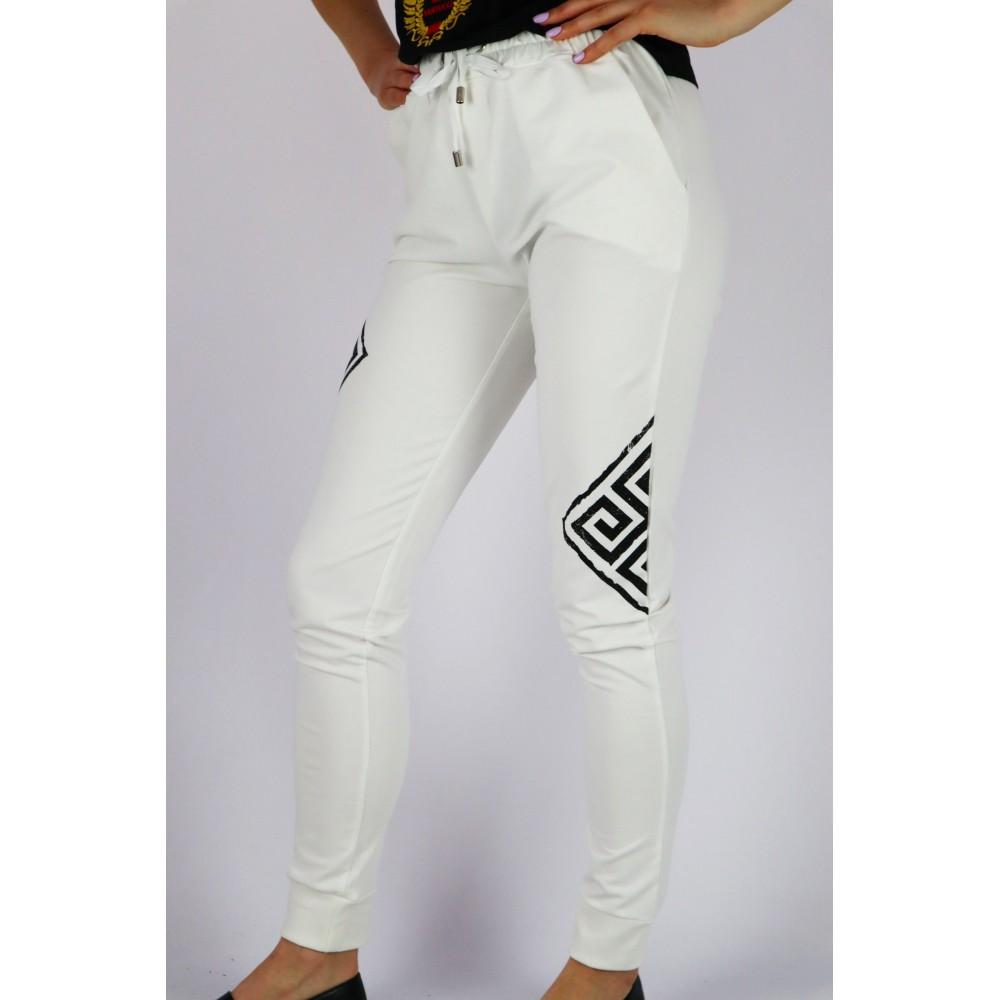 Spodnie dresowe GIL SANTUCCI damskie ecru z czarnymi grafikami