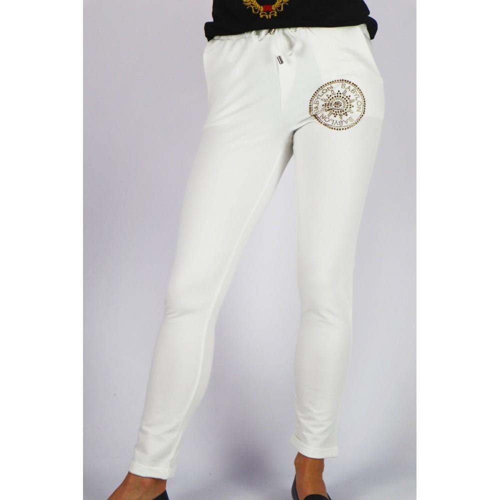 Spodnie dresowe BABYLON damskie ecru z dżetową grafiką