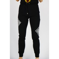 Spodnie dresowe GIL SANTUCCI damskie czarne z białymi grafikami