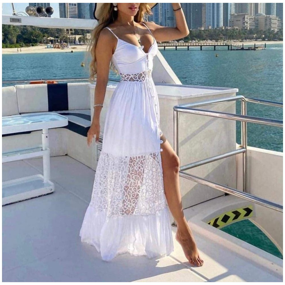 Biała sukienka koronkowa damska idealna na lato