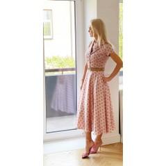 Elegancka sukienka damska koszulowa w piękne printy różowa
