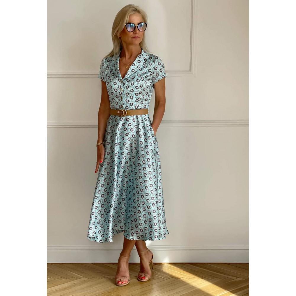 Elegancka sukienka damska koszulowa w piękne printy niebieska