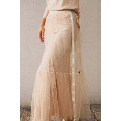 Spódnica damska w grochy z tiulem i lampasem