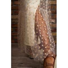 Spódnica damska w kropki z tiulem na ozdobnej gumce