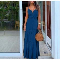 Maxi sukienka dopasowana z guziczkami granatowa idealna na lato