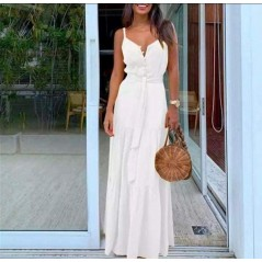 Maxi sukienka biała dopasowana z guziczkami idealna na lato