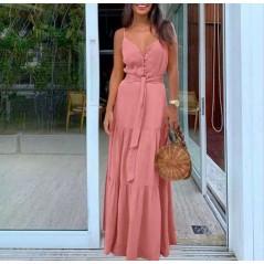 Maxi sukienka różowa dopasowana z guziczkami idealna na lato