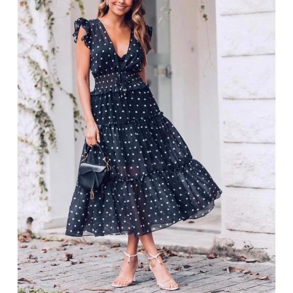 Elegancka sukienka w grochy damska idealna na wesele