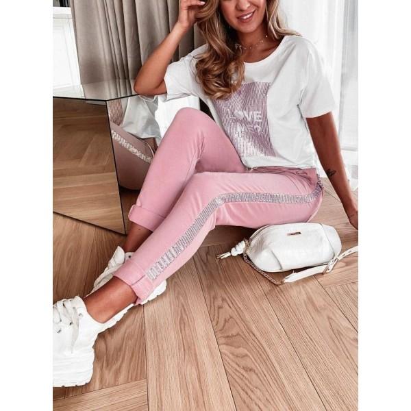 Komplet dresowy damski różowe spodnie i t-shirt LOVE ME