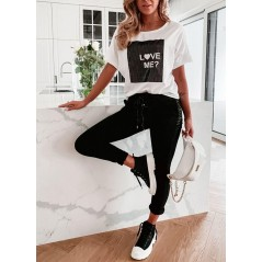 Komplet dresowy damski czarne spodnie i t-shirt LOVE ME
